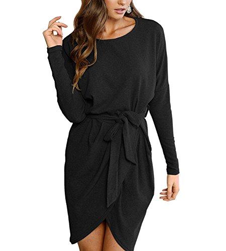 365-Shopping Strickkleid, Damen, lange Ärmel, ohne Kragen, Knielänge, einfarbig Gr. Asiatisch Medium, schwarz 1