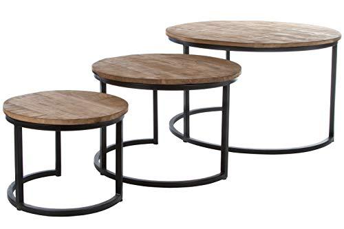 Wohnando Beistelltische 3er Set in schwarz/Holz