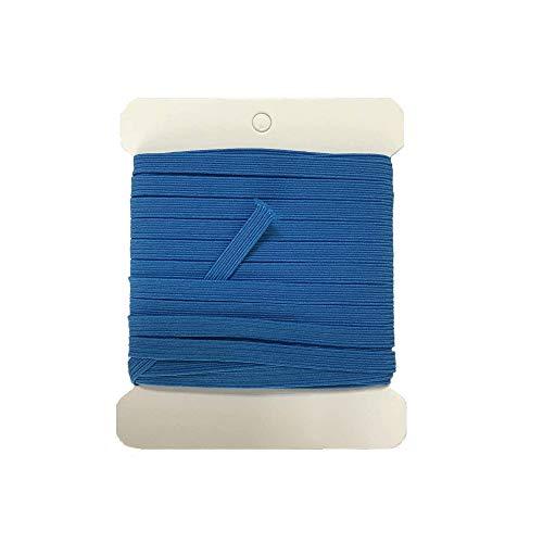NIKB Blue Elastic 1/4 inch for Sewing 11-Yards Blue Elastic Bands for Masks /1/4 inch Blue Elastic Cord for Sewing (1/4inch 11Yards Flat, Blue)