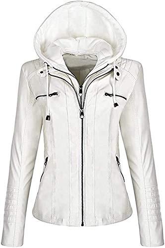 Sudadera con capucha para mujer, de piel auténtica, con cremallera y capucha.