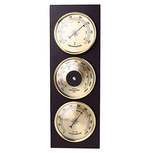Y-POWER 3Pcs/Set Barometer Hygrometer Thermometer Weather Station with Wooden Frame Base Ornaments 31cm X 11cm