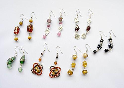 Pack de 7 pares de pendientes de bisutería con piedras de colores. Envío GRATIS 72h Entrega en buzón