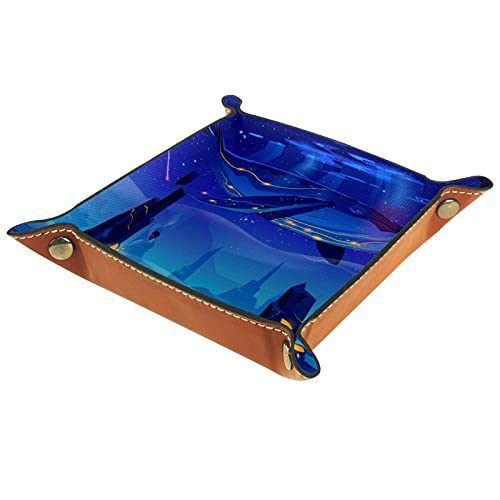AITAI Bandeja de valet de cuero vegano organizador de mesita de noche placa de almacenamiento de escritorio Catchall espacio azul cuento de hadas con enorme ballena
