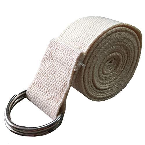 Garciakia - Correa de Yoga de algodón Resistente, Correas estándar Extra largas, Hebilla Ajustable con Anilla en D Que Proporciona flexibilidad para Yoga (Color: Blanco)