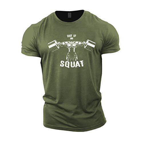 GYMTIER Mens T-Shirt de Musculation - Shut Up and Squat BB - vêtements d'entraînement de Gym
