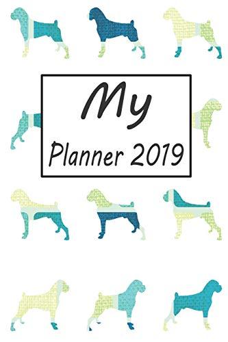 My Planner 2019: Boxer Dog Blue Pattern Weekly Planner 2019: 12 Month Agenda - Calendar, Organizer, Notes, Goals & To Do Lists