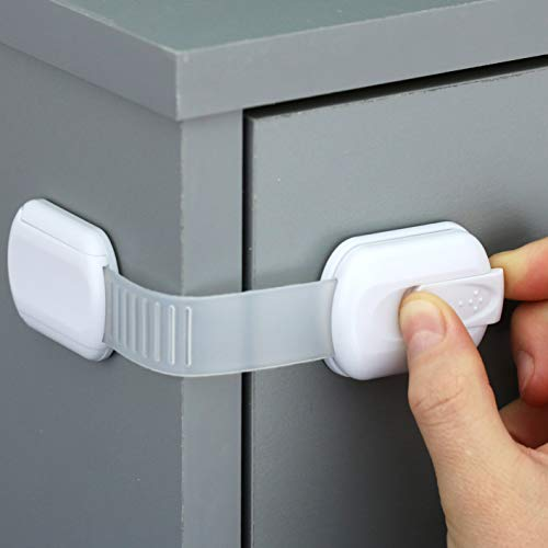 Child Safety Strap Locks (4 Pack) Baby Locks for Cabinets and Drawers, Toilet, Fridge & More. 3M Adhesive Pads. Easy Installation, No Drilling Required, White