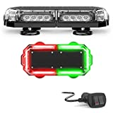 SpeedTech Lights Mini 14 72 Watts LED Strobe Lights for Trucks, Cars, Plows, and Emergency Vehicles with Magnetic Roof Mount in Red/Green