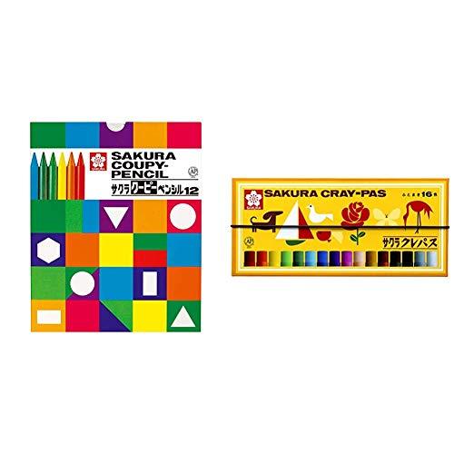 【セット買い】サクラクレパス 色鉛筆 クーピー 12色 紙箱入り FY12K & クレパス 16色 ゴムバンド付き LP16R
