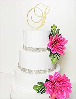 Monogram Acrylic Letter Cake Toppers in Brushed Gold or Brushed Silver A B C D E F G H I J K L M N O P R S T U V W (Letter...