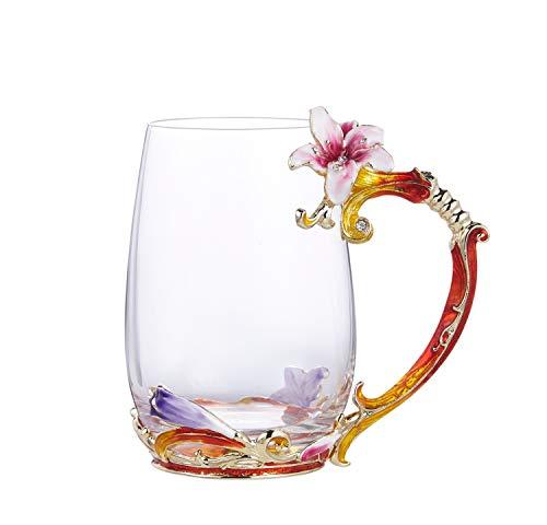 WUXUN-CUP luxe Lussuoso elegante nagellak kleurrijke bloem van Lilie Transparant Elegant glas van kristalglas met bord set met lepel theeservies van hoge kwaliteit theekopje