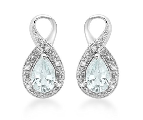 Carissima Gold 9ct White Gold Diamond and Aquamarine Stud Earrings