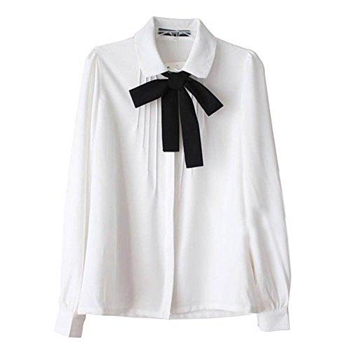 ETOSELL Lady Bowknot Baby Collar Long Sleeve OL Chiffon Button Shirt White XL
