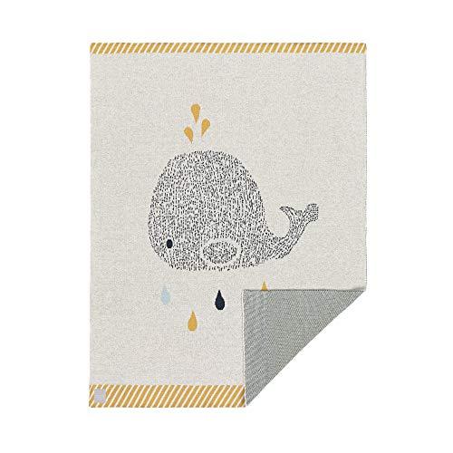 LÄSSIG Baby Krabbeldecke Strickdecke Spieldecke Schmusedecke Kuscheldecke GOTS zertifiziert weich/Baby Blanket 75 x 100 cm Little Water Whale