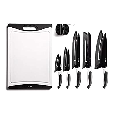EatNeat 12-Piece Kitchen Knife Set - 5 Black Stainless Steel Knives with Sheaths, Cutting Board, and a Sharpener - Razor Sharp Cutting Tools that are Kitchen Essentials for New Home by EatNeat