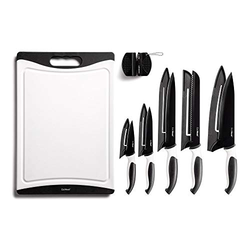 12-Piece Black Sharp Knife Set with Covers, Cutting Board and Sharpener