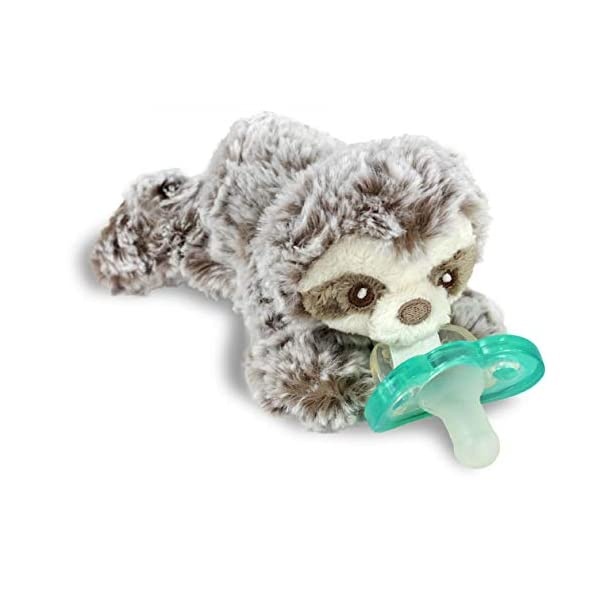 RaZbaby RaZbuddy JollyPop Pacifier Holder w/Removable Baby Pacifier – 0m+ – BPA Free – Sloth