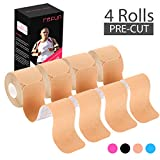REFUN Kinesiology Tape Precut (4 Rolls Pack), Elastic Therapeutic...