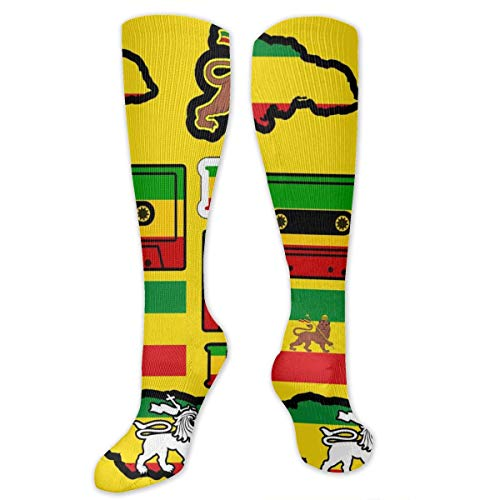 Rasta Lion Jamaican Reggae Flag Map Magnetic Tape Crazy Funny Novelty Tube Stockings Knee High Socks Women & Men Athletic Sports Compression Socks Best Medical Running Flight Travel Pregnant