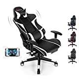 Goplus Gaming Chair, Massage Office Chair Computer Gaming Racing Chair, High Back PU Leather Adjustable Arms Headrest Ergonomic Reclining Game Chair, Rolling Swivel Executive Chair