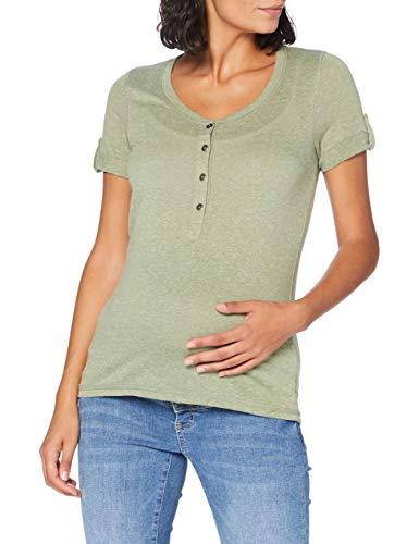 MAMALICIOUS Damen MLNELLA LIA S/S Jersey TOP NF T-Shirt, Detail:Melange Oil Green, S