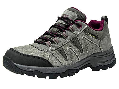 riemot Zapatillas Trekking para Mujer y Hombre, Zapatos de Senderismo Calzado de Montaña Escalada Aire Libre Impermeable Ligero Antideslizantes Zapatillas de Trail Running, Mujer Gris Rojo 40 EU
