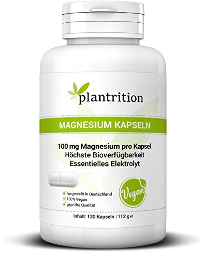 plantrition® Magnesium Kapseln 100 mg elementares Magnesiumglycinat pro Kapsel - Magnesium-Bisglycinat höchste Bioverfügbarkeit - 120 Kapseln