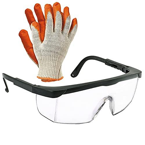Gafas de trabajo y seguridad antipolvo, antisalpicaduras y antivaho | Gafas de proteccion para el trabajo, ya sea en el ámbito sanitario, industrial y agrícola. | Incluye guantes de trabajo.