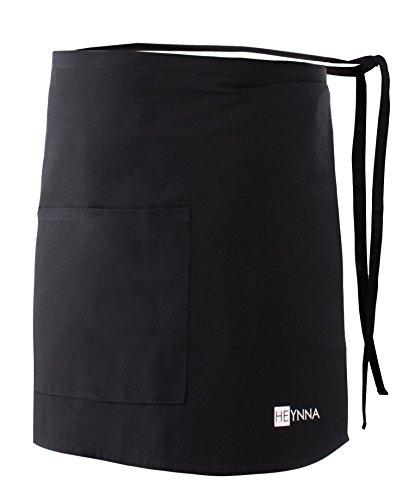 HEYNNA® Vorbinder Kochschürze 100% Baumwolle belastbar & einfach zu reinigende Schürze - perfekt auch als Kellnerschürze und Backschürze (schwarz)