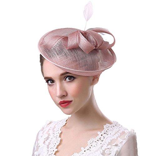 Urchart Women Fascinators Hat Lady Cocktail Wedding Party Net Yarn Flax Headdress (Pink)