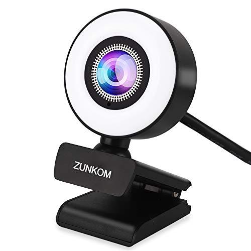 WUEAOA Webcam 1080P Full HD con Micrófono y Anillo de Luz,USB,para Ordenador,Webcam Full HD con Enfoque Automático y Gran Angular para Streaming,Vídeo,Chat,Mac,Windows,Portátiles,Conferencias,Juegos
