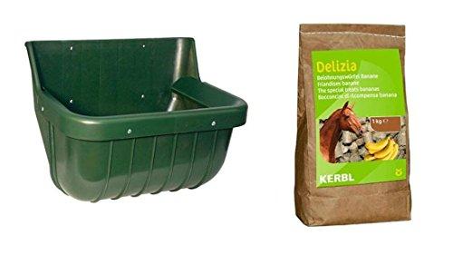 Futtertrog für Pferde mit Belohnungswürfeln 1 k mit Schutzkante Banane Pferdetrog Pferdetränke Tränke Trog Wassertrog zum Anschrauben an die Wand für Kraftfutter