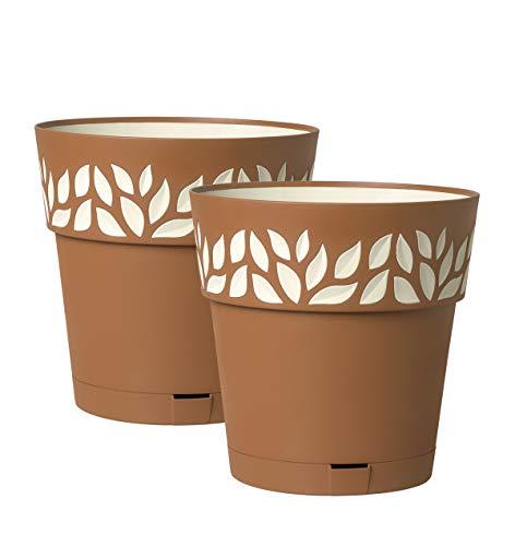 Kreher 2 Stück Pflanztöpfe CLOE Hochwertiges 3D-Design in leicht Matter Ausführung mit integrierten Wasserspeicher (XL, Terrakotta)