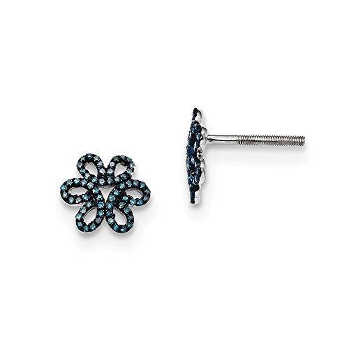 925 Sterling Silver Blue Diamond Flower Post Stud Earrings Gardening Fine Jewellery For Women Gifts For Her