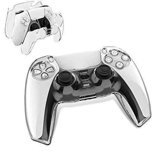Newseego Schutzhülle für PS5 Controller, Transparente PC Hard Skin Grip Cover Anti-Rutsch Schutzgehäuse Hülle Vollständiger Schutz für Playstation 5 Controller Konsole Zubehör - Transparente