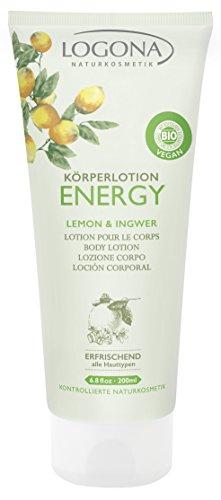 LOGONA Naturkosmetik Körperlotion Energy, Belebende Kombination von Zitrone & Ingwer, Strafft die Haut & pflegt sie geschmeidig, Vegan, 200ml
