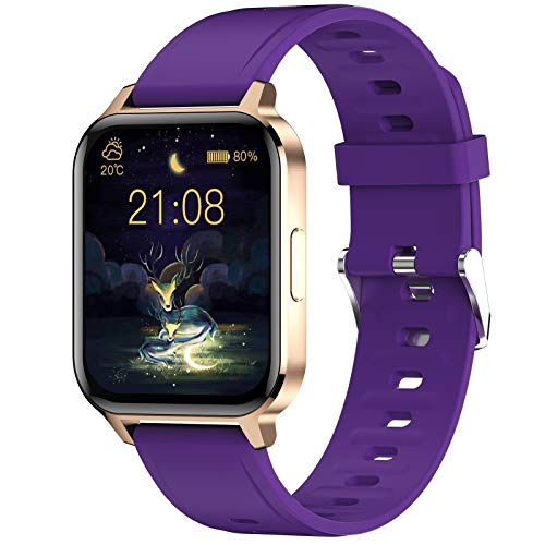 Smart Watch, Fitness Tracker 1.7 in HD Touch Screen with Heart Rate Monitor Blood Oxygen Meter Sleep Step Tracking, IP68 Waterproof Smartwatch Compatible with iOS Android for Men Women (Purple)