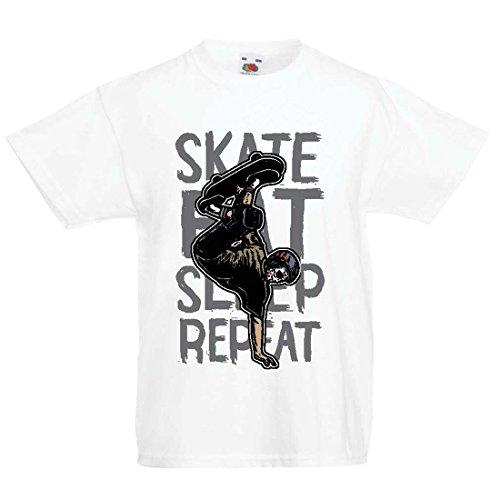 T-Shirt pour Enfants Eat-Sleep-Skate-Repeat pour Les Amateurs de Skateboard, Les Cadeaux de Skateboard, Les vêtements de Skateboard (7-8 Years Blanc Multicolore)