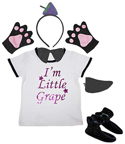 Petitebelle I'm Little Fruit Tee diadema con guantes, zapatos de cola de 6 piezas para disfraz de 1 a 5 aos (uva, 1 a 2 aos)
