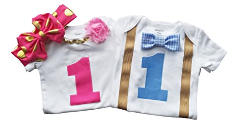 Boy Girl Twin Outfits 1st Birthday Set Blue Gingham and Pink(12M Short Sleeve)