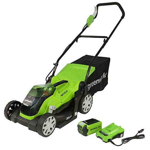 Greenworks Tools 2501907UA Cortacésped Inalámbrico con batería y cargador incluídos, 40 V, Verde, 35cm