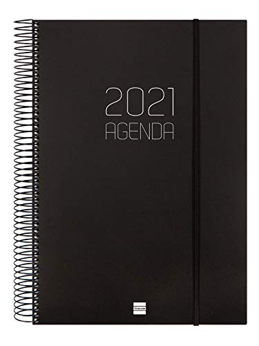 Finocam - Agenda 2021 1 Día página Espiral Opaque Negro...