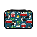 Neceser transparente para mujer, bolsa de viaje con gancho para colgar accesorios de artículos de tocador (Corgi Tricolored Beach Dog Raza Zafiro)