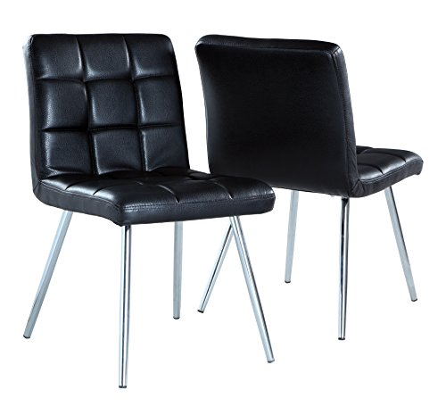 Monarch Specialties Black Leather-Look/Chrome Metal 2-Piece Dining Chair, 32-Inch