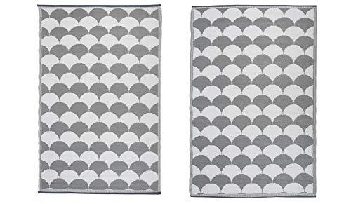 Esschert Design Tapis d'extérieur 180 x 121 cm Gris et Blanc OC24