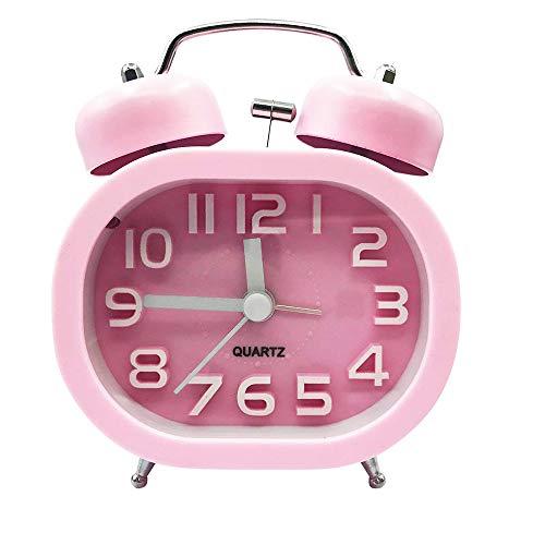 Skitior - Reloj Despertador con Doble Campana, luz Nocturna no Parpadeante con luz Nocturna para recámara, Color Rosa