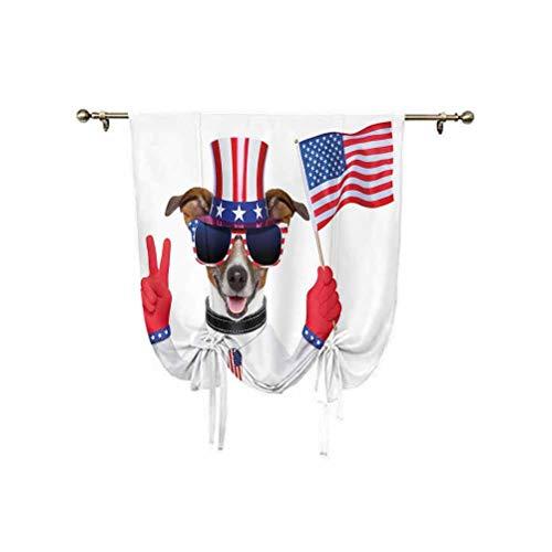 Cortina opaca con diseño de zigzag en colores de la bandera de Estados Unidos con estrellas y aislamiento térmico, 45 x 63 pulgadas, para ventana pequeña, bolsillo para barra, azul real