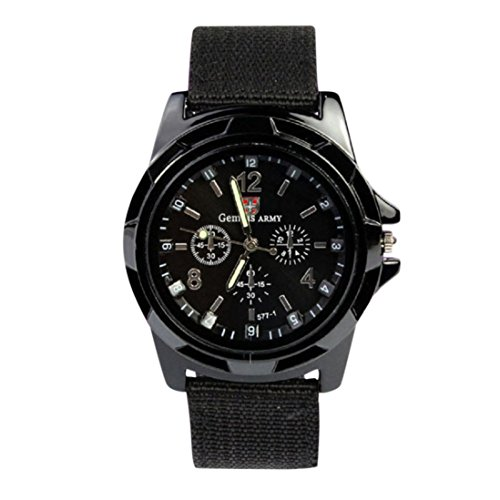 Quaanti 2018 New Aimecor Fashion Gemius Army Racing Force Military Sport Men Officer Fabric Band Watch New Dropshipping (Black)