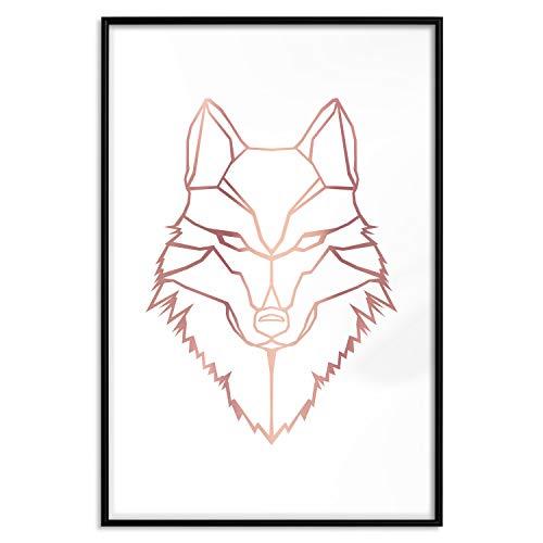 murando Poster Rose Gold Wolf 40x60 cm mit Rahmen Bilder Kunstdruck Plakat Wandbild Print Wandposter Gerahmt Wandbild Wohnung Wanddeko Design g-A-0224-ar-c