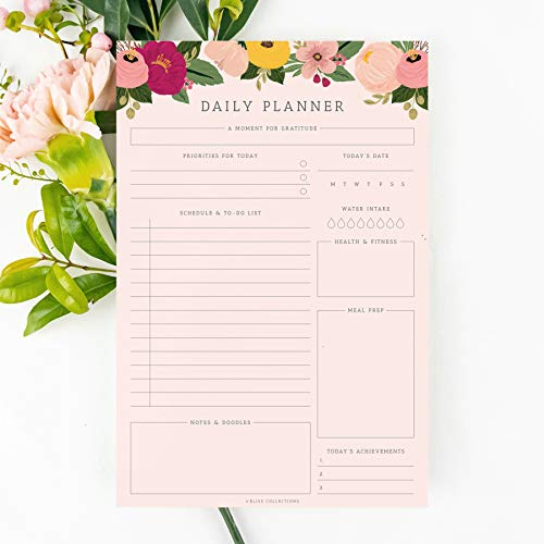Bliss Collections Daily Planner, 50 Undated 6 x 9 Tear-Off Sheets, Blush Floral Calendar, Organizer, Scheduler, Productivity Tracker, Meal Prep, Organize Tasks, Goals, Notes, Ideas, to Do Lists